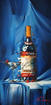 Still life Painting - Wine in blue KG still life decor